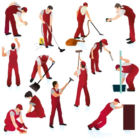 Big set of thirteen professional cleaners in the red uniform Ilustração