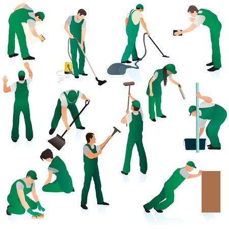 cleaning windows: Big set of thirteen uniformed professional cleaners in green