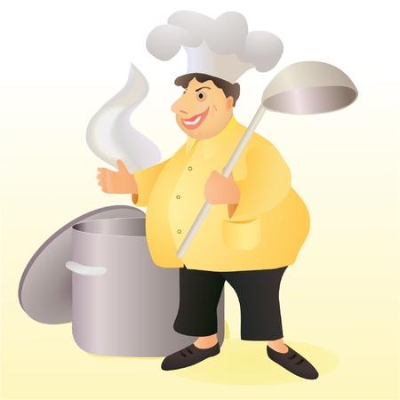cerveza negra: Divertido robusto sonriente cocinero con una gran cuchara y una cacerola stew Vectores