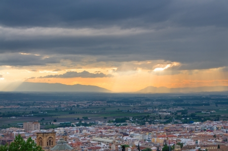 An aerial view of Granada town in Spain at the time of sunset photo