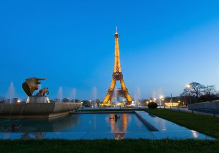 Night shot of Eiffel tower paris and statue of bulls head at the fountains