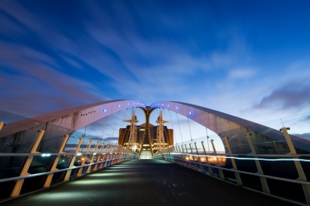 Inside view of Millennium Bridge Manchester at Salford Quays