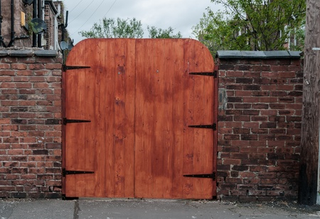 A wooden gate, entrance to the house at the back of house in Manchester  Image No 104  photo