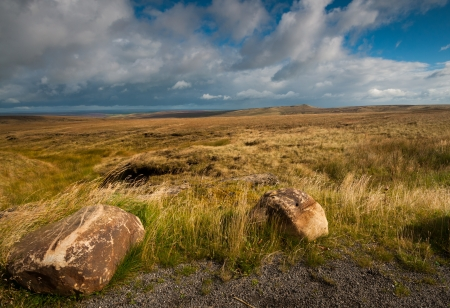 View of moors in west yorkshire, england  This landscape image is taken from the holmfirth road A635 Stock Photo - 15517916
