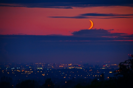 A new moon  crescent  over the manchester skyline   Stock Photo