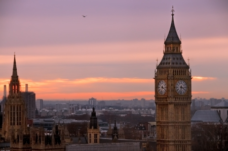 united kingdom: A view of Big ben from London  Eye from a high view point