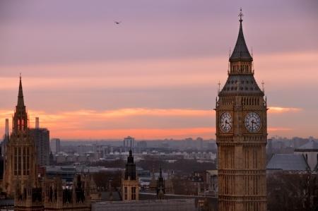 Een zicht op Big Ben van Londen Eye van een hoog gezichtspunt Stockfoto