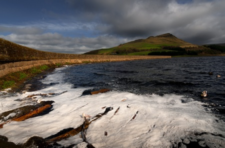Logs and froth in the water of dovestone reservoir at Peak district, England  Stock Photo - 16383646