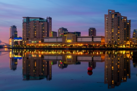 Reflection of Manchester, Salford quays skyline in water