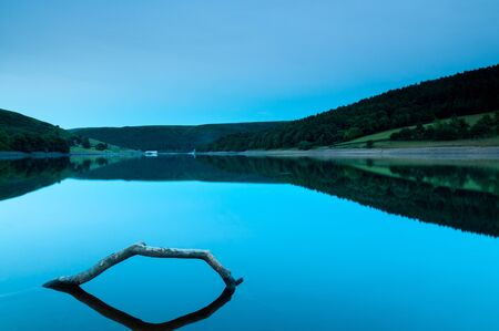 reservoir: Ladybower reservoir lake in the Peak District of England at night