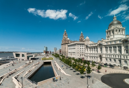 View of liverpool waterfront from the windows of Liverpool museum at the docks Standard-Bild