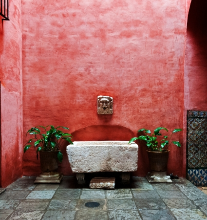 A colorful courtyard in the city of Seville in Andalucia Spain Stock Photo