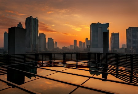View of Dubai skyline at the sunrise.