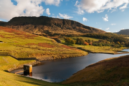 greater: Aerial view of dove stone reservoir in a beautiful peak district near greater manchester