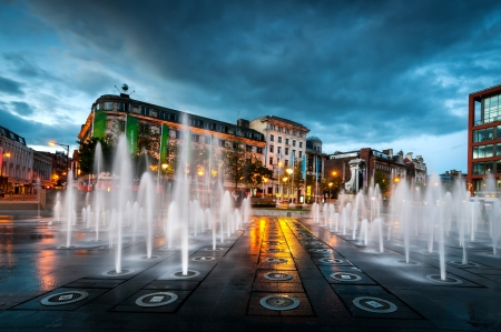 Fountain in the piccadilly garden in the Manchester city centre Editorial