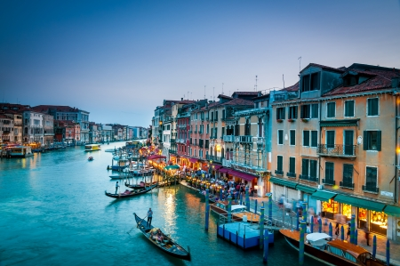 View of Grand canal Venice from one of the bridges