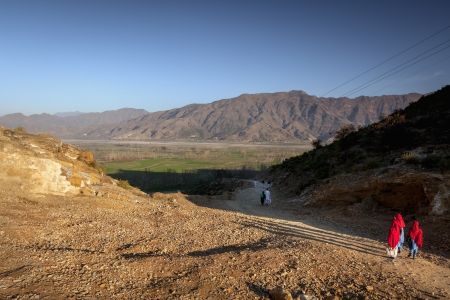 pakistan: Kids on their way to shcool ealry morning in a rural village of Pakistan