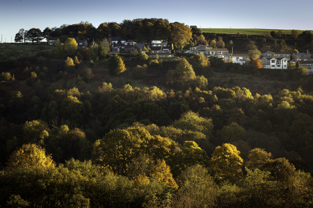 distric: House on top of hill covered with trees in the autum colors, lit with the golden light  Greater Manchester, England