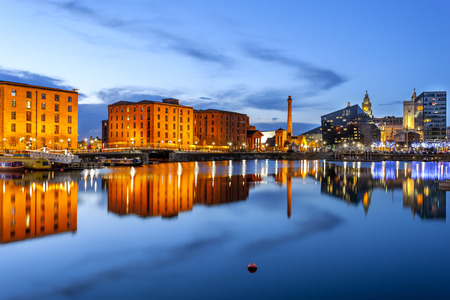 Liverpool waterfront skyline with its famous buildings like Pierhead, albert dock, salt house, ferry terminal etc