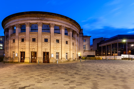 venues: Sheffield City Hall is a Grade II listed building in Sheffield, England, containing several venues, ranging from the Oval Concert Hall  to a ballroom  Stock Photo