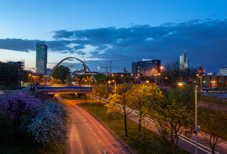 Beetham tower and Hulme Arch bridge over princess road  Stock Photo