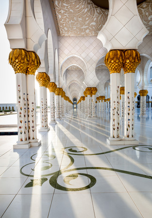 Corridor of Sheikh Zayed Mosque Abu Dhabi, which is intricately decorated and designed