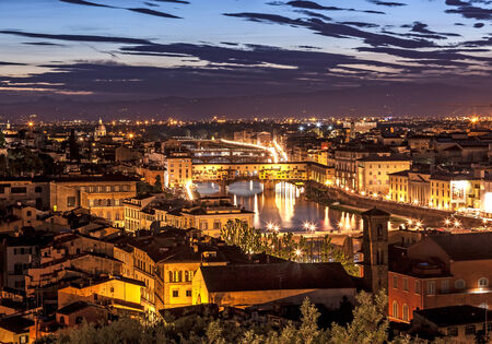 florence   italy: Aerioal view of ponte Vecchio famous bridge in Florence italy.