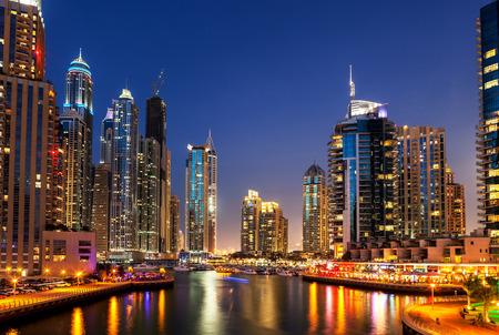 Skyline of modern highrise buildings at Dubai Marina, UAE.