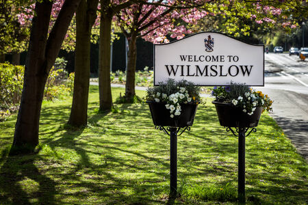 Sign board of wilmslow town in Cheshire England photo