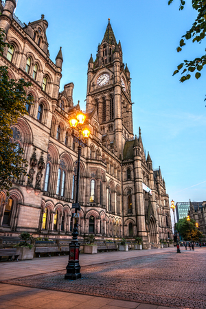 Manchester town hall is where city council offices are located  It is in the city centre of Manchester England