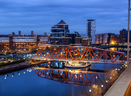 Salford Quays skyline in de Greater Manchester, Engeland