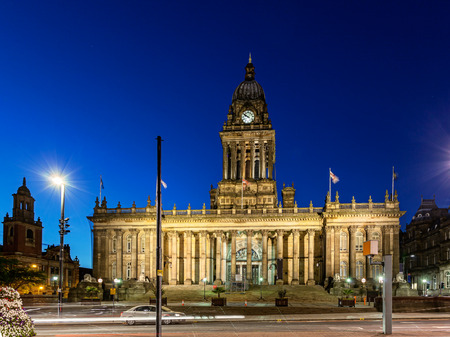 Leeds Town Hall is a grade I building,  conveniently located in the centre of Leeds, next to Leeds Central Library and Leeds City Art Gallery Stock Photo - 30892262