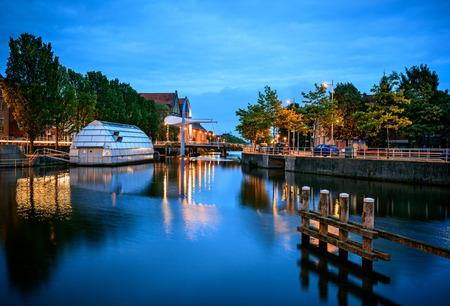Leeuwarden is de hoofdstad van de provincie Friesland in Nederland. Stockfoto