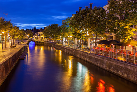 Canals passing though beautiful city of Leeuwarden capital of Friesland in north of Netherlands Stock Photo