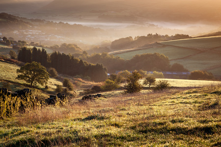 north yorkshire: Beautiful english landscape in the glorious morning light at Diggle, Greater Manchester, England.