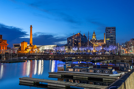liverpool: Liverpool skyline at the waterfront and famous landmark like liverpool museum, salt house and albert dock Stock Photo