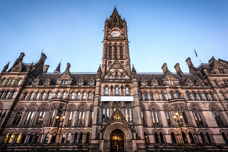 Town hall of Manchester located at the Albert square, city center. Reklamní fotografie - 33533625