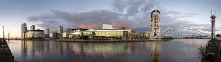 lowry: Panoramic view of Salford Quays with Lowry theatre