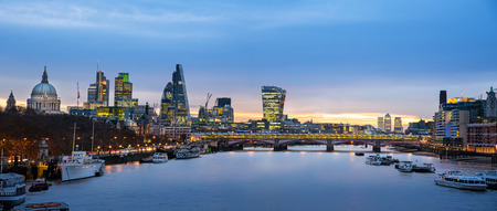 london: Panoramic view of London skyline over river Thames.