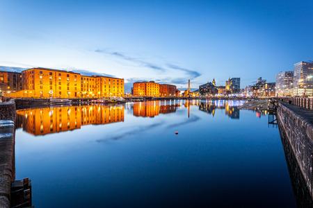 Liverpool waterfront skyline with its famous buildings like Pierhead, albert dock, salt house, ferry terminal etc. photo
