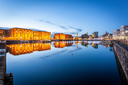 Liverpool waterfront skyline with its famous buildings like Pierhead, albert dock, salt house, ferry terminal etc. Reklamní fotografie