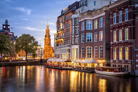 amsterdam: Amsterdam clock tower is one of attractions near the flower market  in Amsterdam, Netherlands.