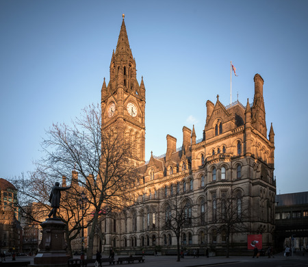 the old town hall: Manchester Town Hall is a Victorian, Neo-gothic municipal building in Manchester, England. Editorial