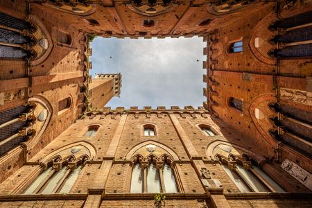 sienna: View from inside The Torre del Mangia  a tower in Siena, in the Tuscany region of Italy.