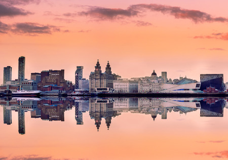 mersey: Liverpool skyline with a panoramic view of all the famous landmarks on the bank of mersey river. Editorial