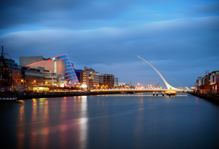 joins: Samuel Beckett Bridge is a cable-stayed bridge in Dublin that joins Sir John Rogerson