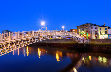 The Penny Ha'penny Bridge, and officially the Liffey Bridge, is a pedestrian bridge built in 1816 over the River Liffey in Dublin, Ireland. Stock Photo - 39226843