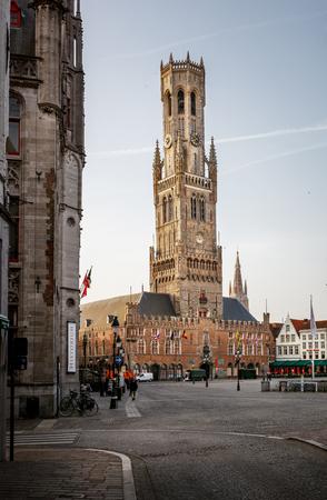 belfort: The belfry of Bruges, or Belfort, is a medieval bell tower in the historical centre of Bruges, Belgium. Stock Photo