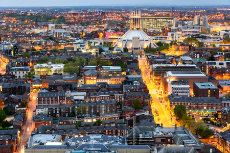 Aerial view of Liverpool city and the Metropolitan Cathedral.