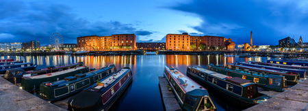 pier: Panoramic view of liverpool skyline at Albert Dock waterfront. Editorial